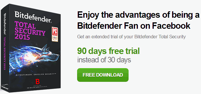 Bitdefender Total Security 2015 90 days trial promotion