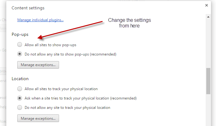 Block pop up in Chrome