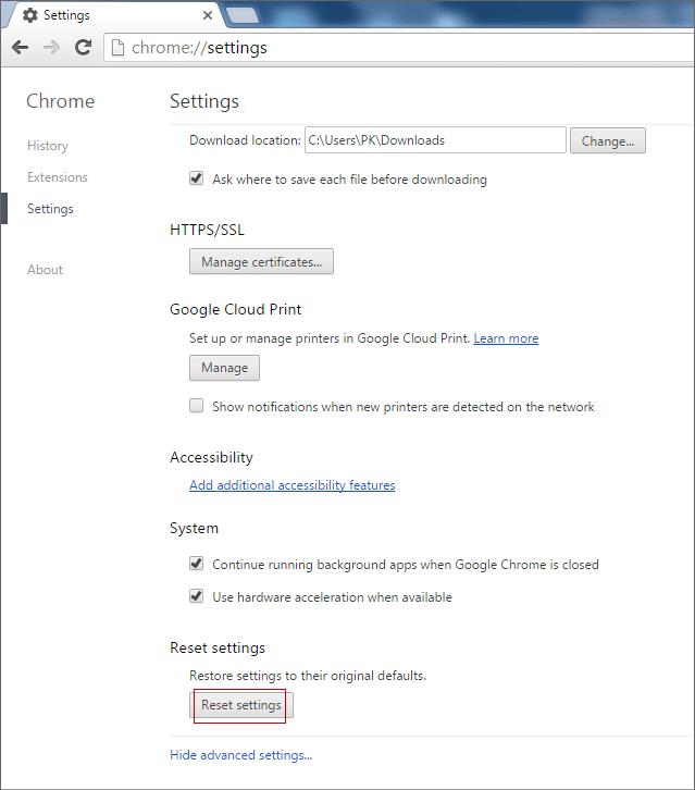 Reset Chrome