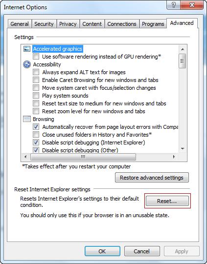 Reset Internet Explorer Step 2