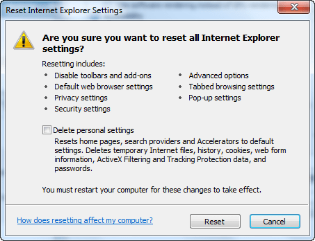 Reset Internet Explorer Step 3