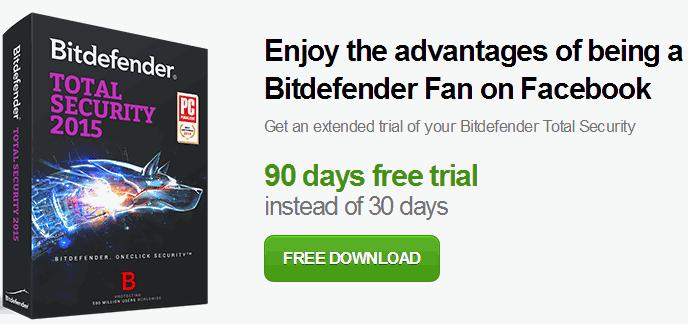 Bitdefender Total Security 2015 90 days trial promotion