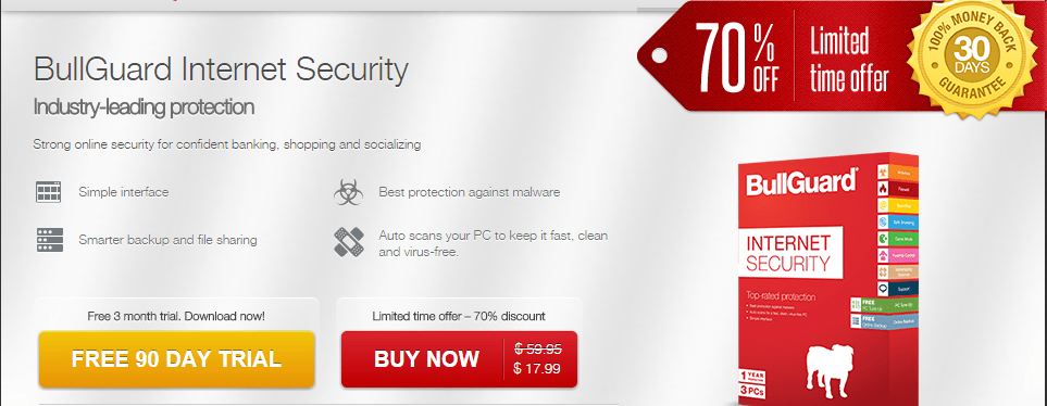 Bullguard 90 days free trial download and 70% Discount offer