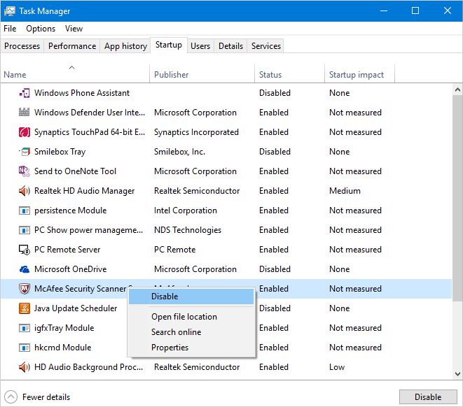 Disable Startup Applications in Windows 10