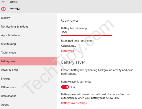 Battery Saver Feature in Windows 10