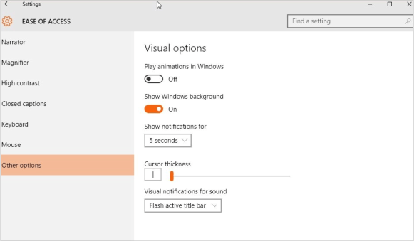 Disable Animation in Windows 10