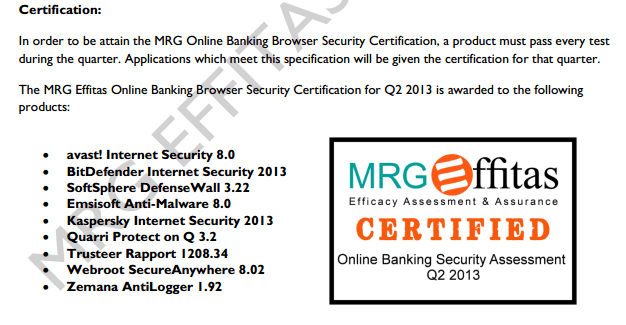 online banking and browser security test result